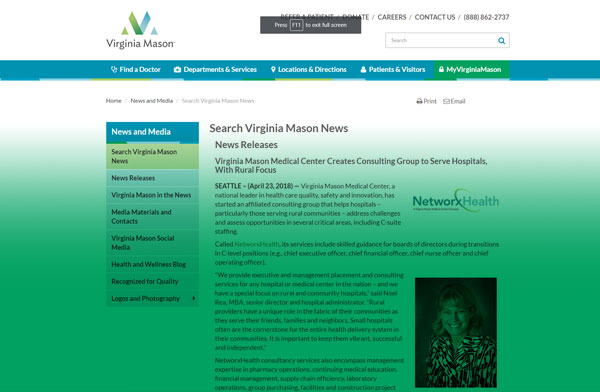Private: Virginia Mason Medical Center Creates Consulting Group to Serve Hospitals, With Rural Focus